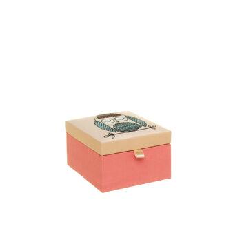 Portagioie quadrato in tessuto con stampa gufetto