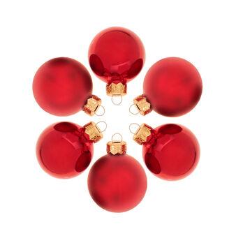 Set 12 sfere natalizie in vetro rosso D 5cm