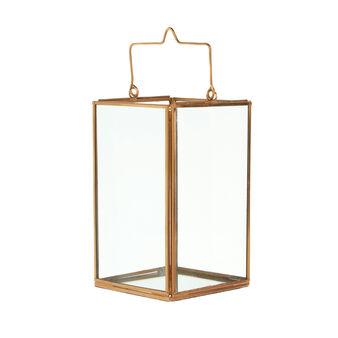 Lanterna in vetro e metallo ramato