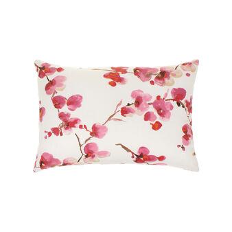 Cuscino in cotone fantasia fiori di pesco