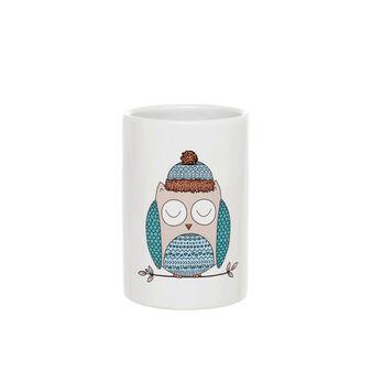 Portaspazzolini in ceramica con serigrafia gufetto