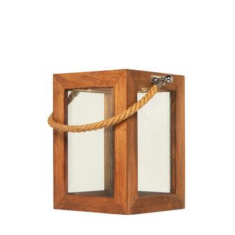 Lanterna vetro e legno manico in corda