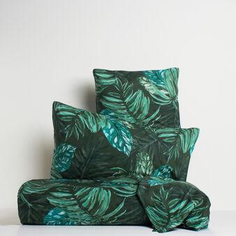 Lenzuolo liscio puro cotone percalle foglie tropicali