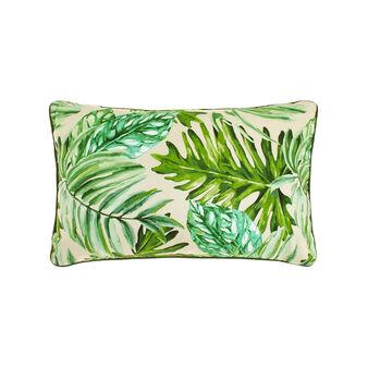 Cuscino puro cotone stampa foglie tropicali
