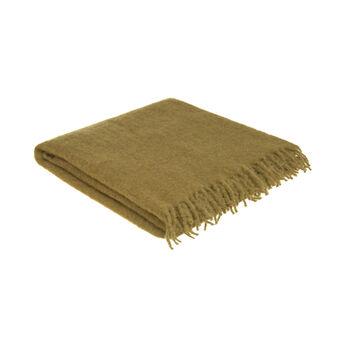 Plaid misto lana bouclé con frange