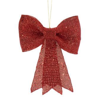 Fiocco decorativo rosso glitter