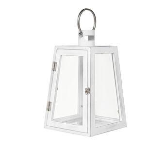 Lanterna vetro e legno con manico cromato