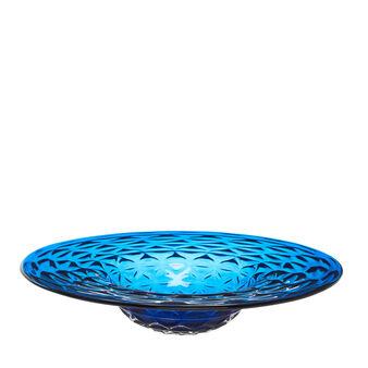 Piatto decorativo vetro colorato in pasta con trama