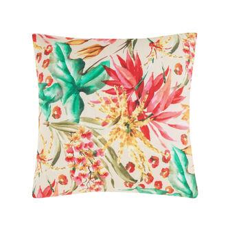 Cuscino puro cotone stampa fiori tropicali