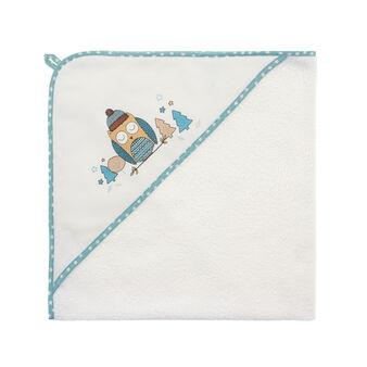 Asciugamano con cappuccio stampa gufetto