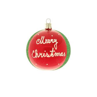 Sfera in vetro e glitter MERRY CHRISTMAS D 8cm