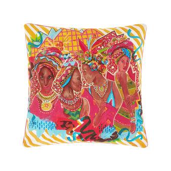 Cuscino puro cotone stampa afro e righe