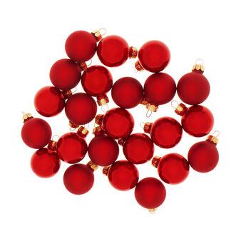 Set 24 sfere natalizie in vetro rosso D 3cm
