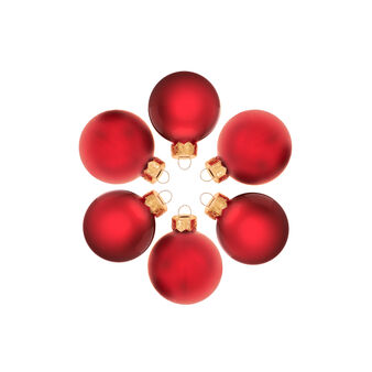 Set 24 sfere natalizie in vetro rosso D 4cm