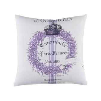 Cuscino puro cotone stampa lavanda e lettering
