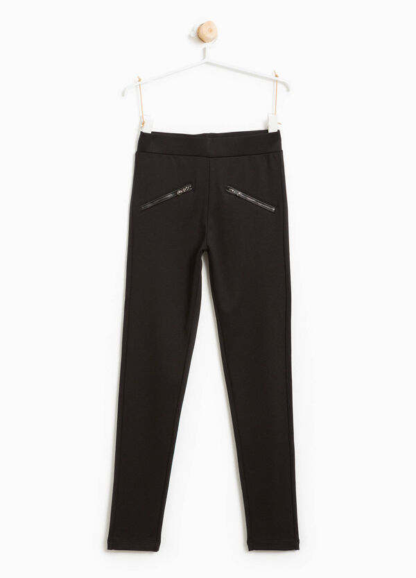 Leggings in viscosa stretch con zip | OVS