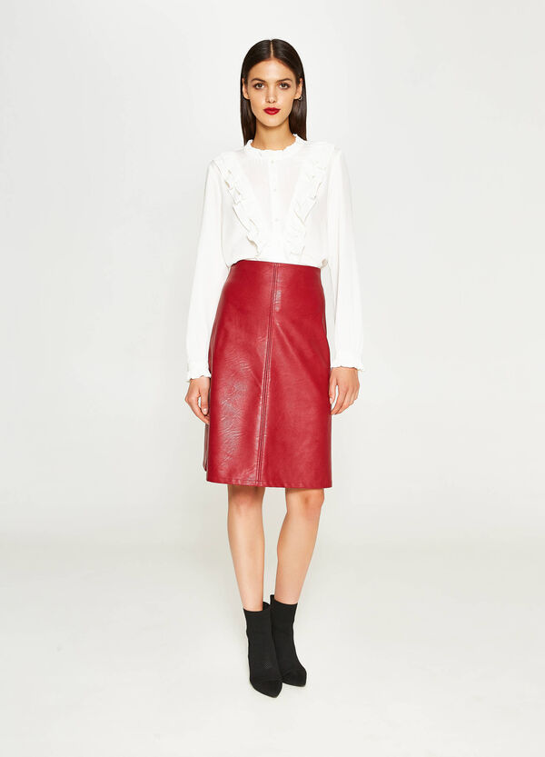 High-waisted leather-look skirt | OVS