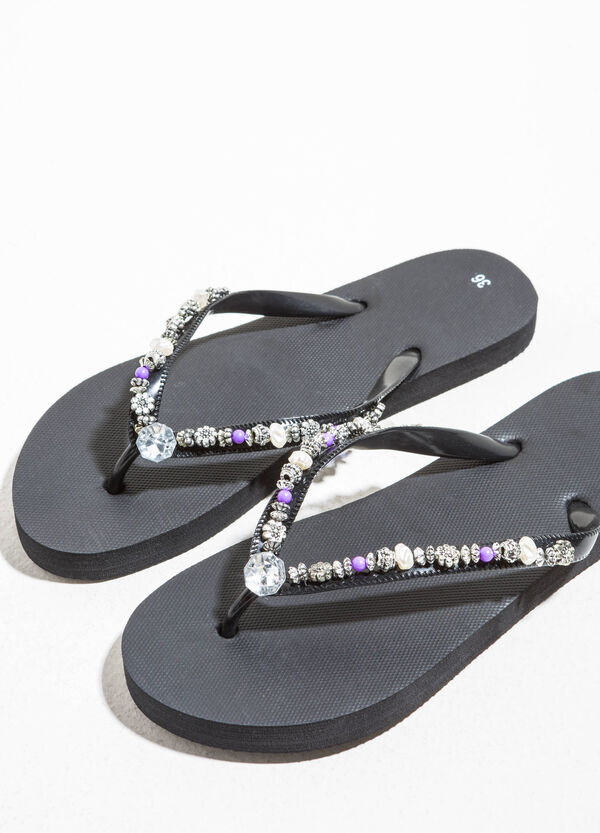 Flip flops with diamantés and beads | OVS