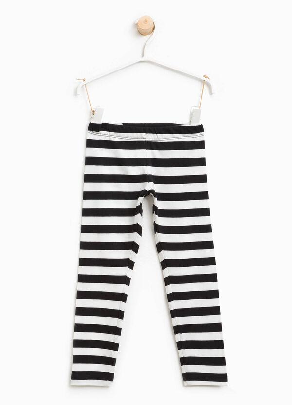 Striped stretch cotton leggings | OVS
