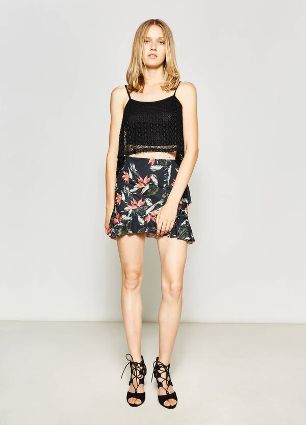 High-waisted skirt with floral print | OVS