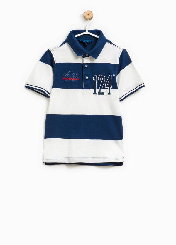 Striped 100% cotton polo shirt with embroidery | OVS