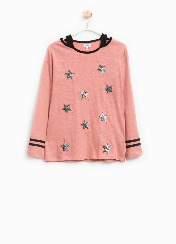 T-shirt in cotone con paillettes | OVS