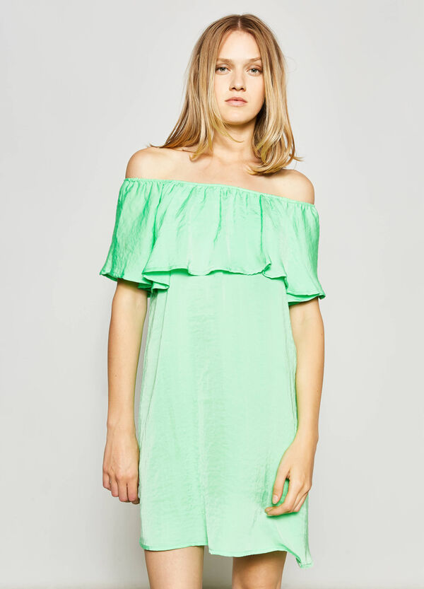 Dress with boat neck and flounce | OVS