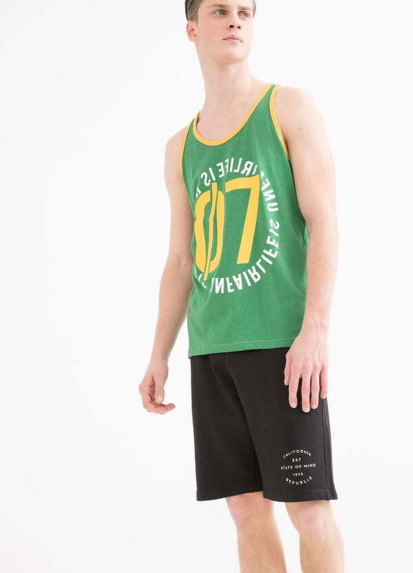 Cotton vest top with print | OVS