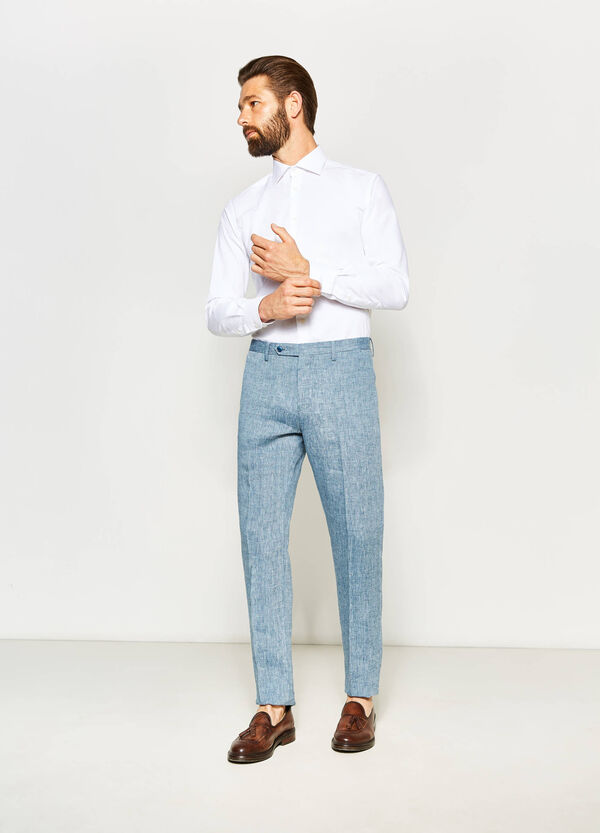 100% linen slim fit trousers | OVS