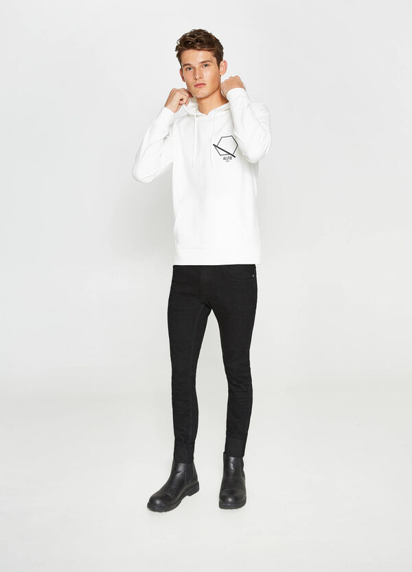 Cotton sweatshirt with print and hood | OVS