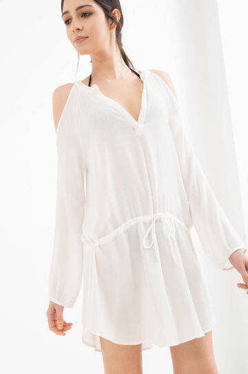 Long-sleeved viscose beach cover-up