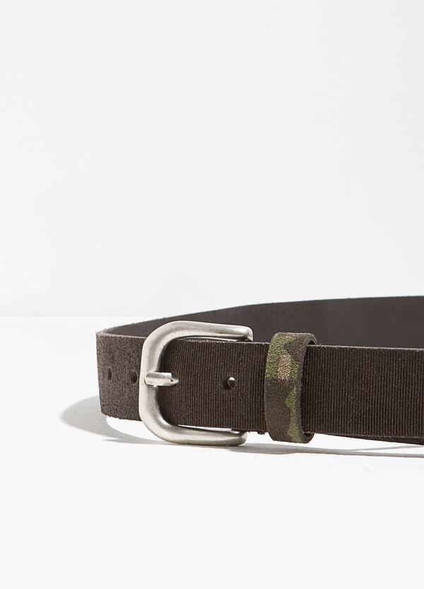Striped genuine leather belt | OVS