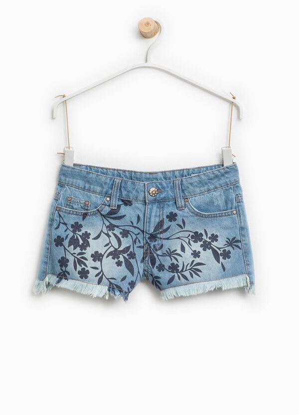 Shorts di jeans delavati con stampa | OVS