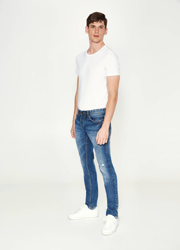 Slim fit jeans with abrasions | OVS