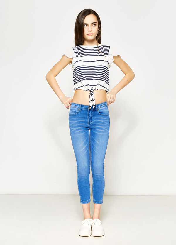 Teen cropped and striped stretch T-shirt | OVS