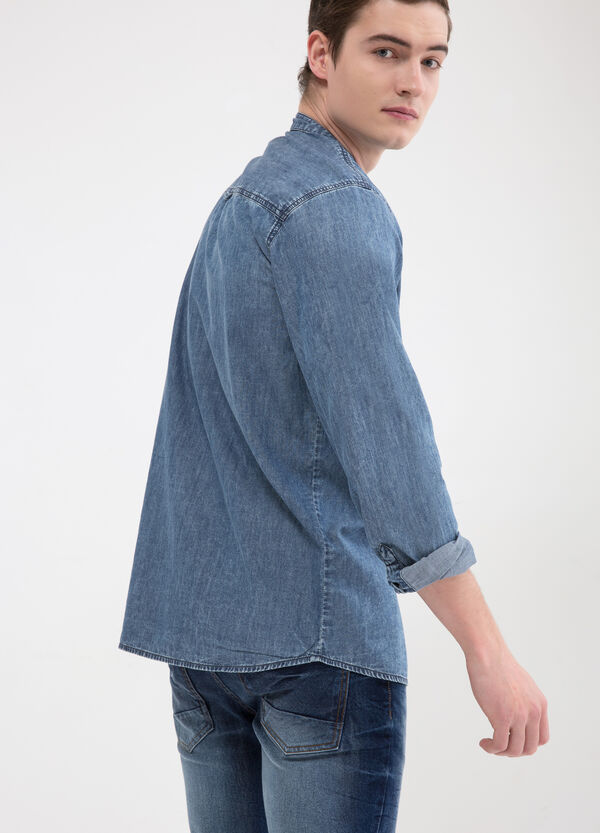 Denim shirt with mandarin collar | OVS