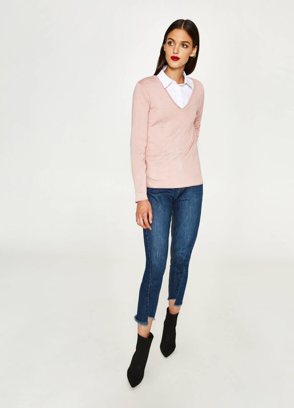 Viscose pullover with V-neck   OVS