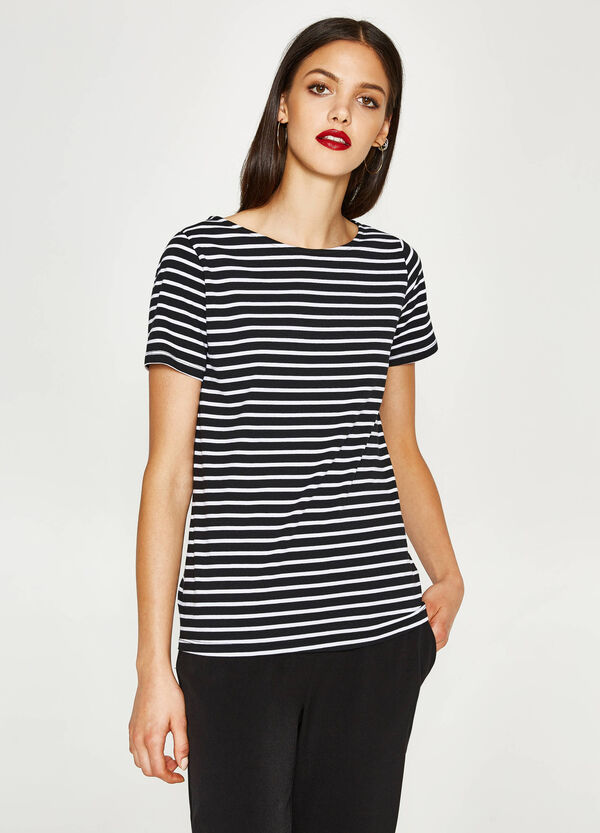 T-shirt in cotone stretch a righe | OVS