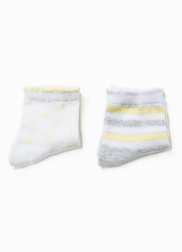 Two-pair pack striped and polka dot socks | OVS
