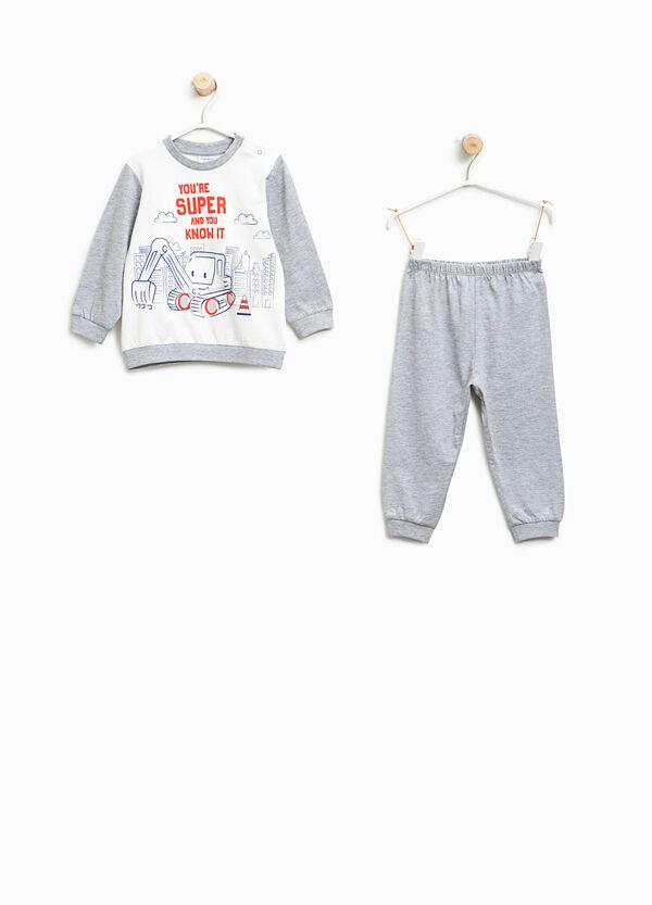 Organic cotton pyjamas with bulldozer pattern | OVS