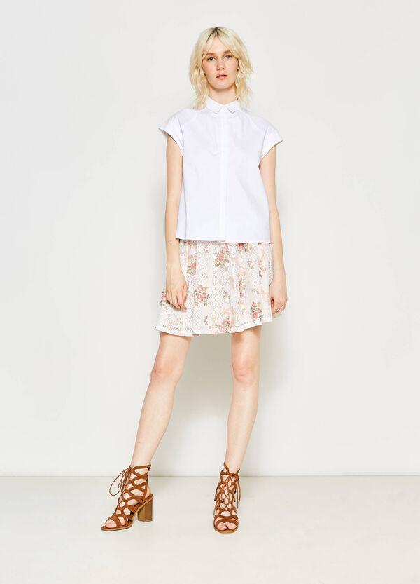High-waisted skirt with floral openwork | OVS