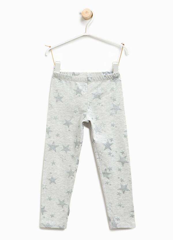 Leggings with glitter star print | OVS