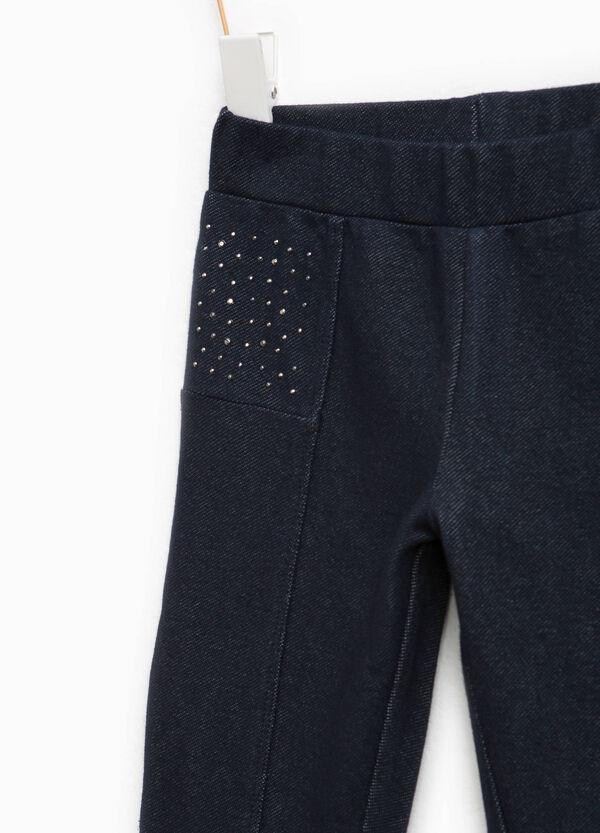 Stretch cotton trousers with diamantés | OVS