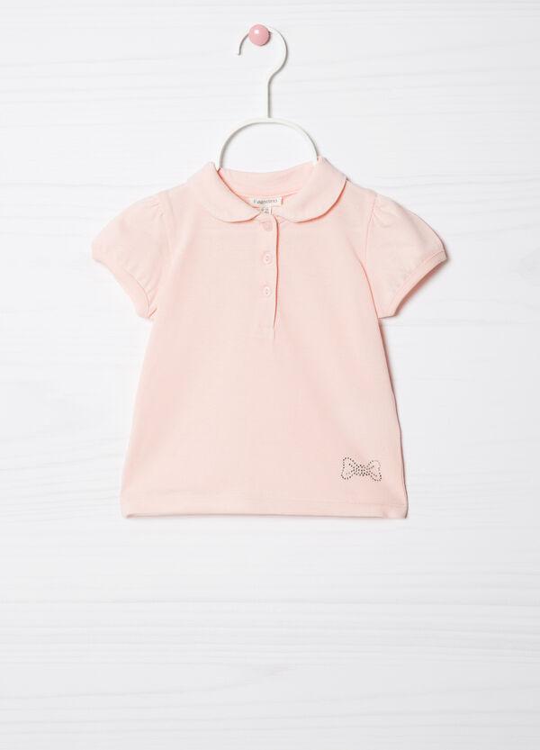 Stretch cotton polo shirt with diamanté trim   OVS
