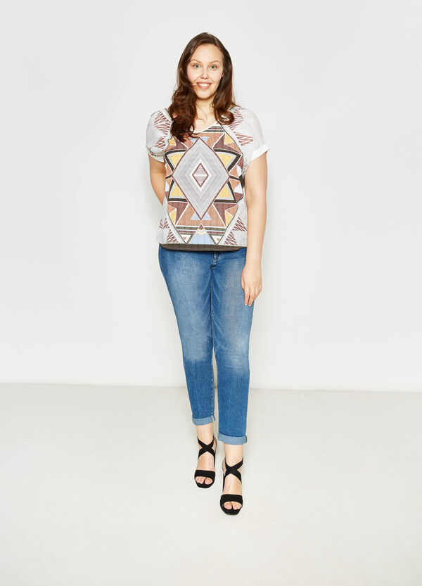 Curvy T-shirt with maxi ethnic print | OVS