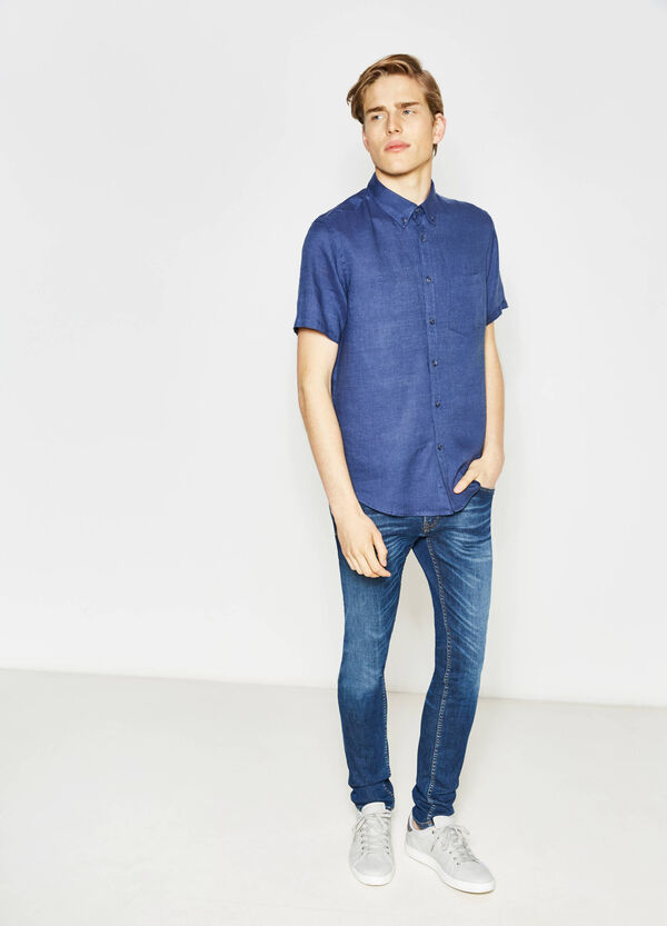 Camicia casual regular fit in puro lino | OVS