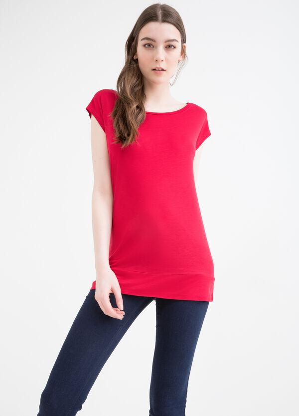 Solid colour 100% viscose T-shirt. | OVS
