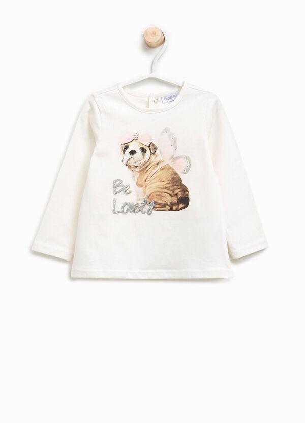 T-shirt con stampa glitterata cagnolino | OVS