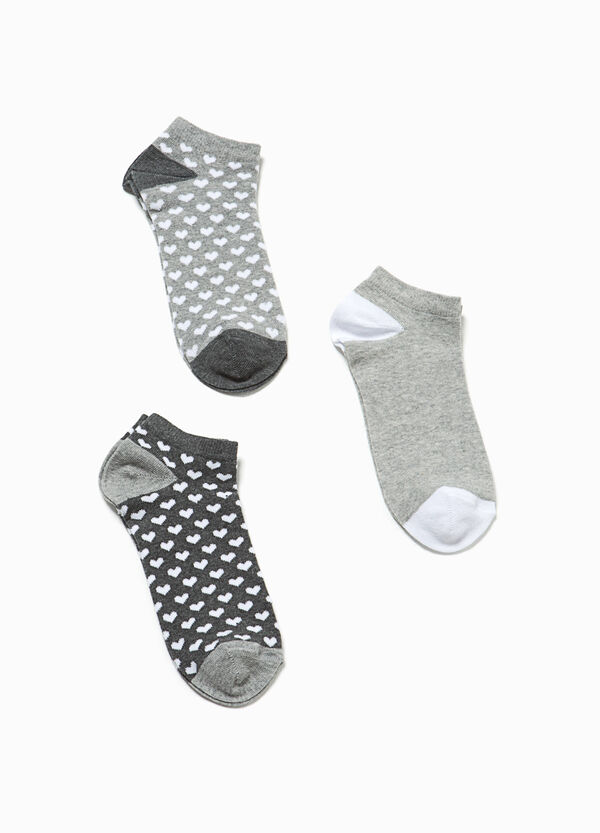 Three-pair pack stretch short socks solid colour and hearts | OVS