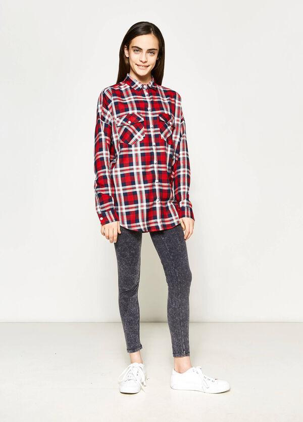 Camisa de tartán en viscosa Teen | OVS